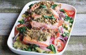Pesto salmon potato bake