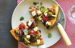 Pesto, tofu and broccoli pizza