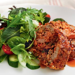 Plum-glazed meat loaf