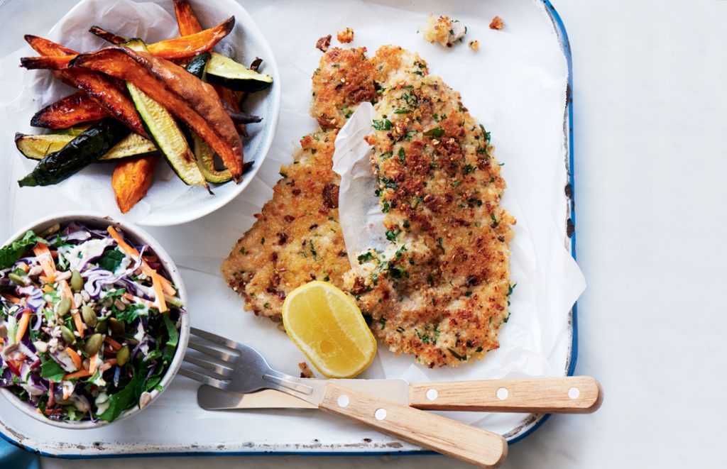Pork schnitzel with courgette and kumara wedges