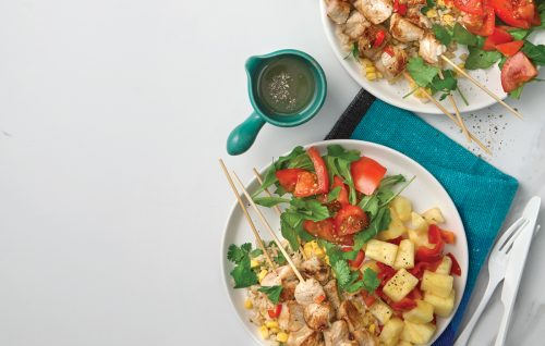 Pork skewers with fresh pineapple and chilli salsa