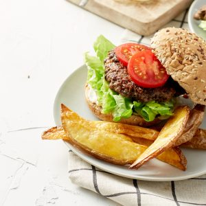 Portobello beef burger and wedges