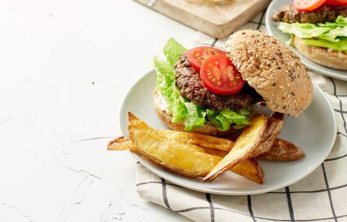 Portobello beef burger and wedges
