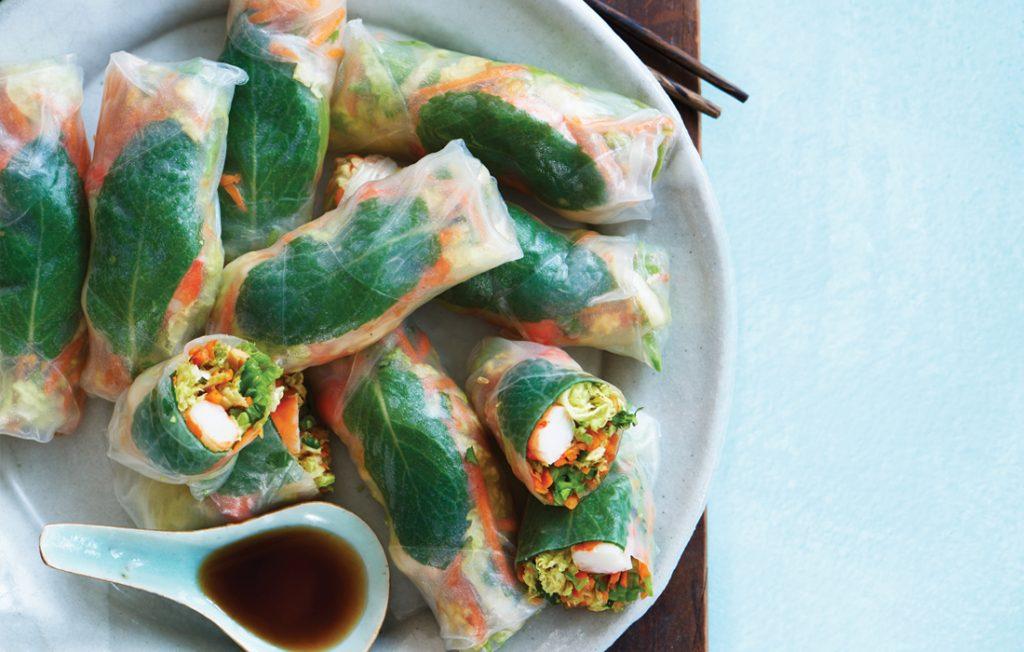 Prawn, avocado and peanut rice paper rolls