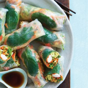 Prawn, avocado and peanut rice paper rolls