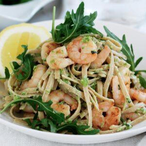 Prawn pasta with pea pesto