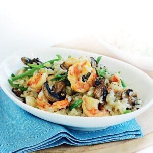 Prawn, snow pea and Asian mushroom risotto