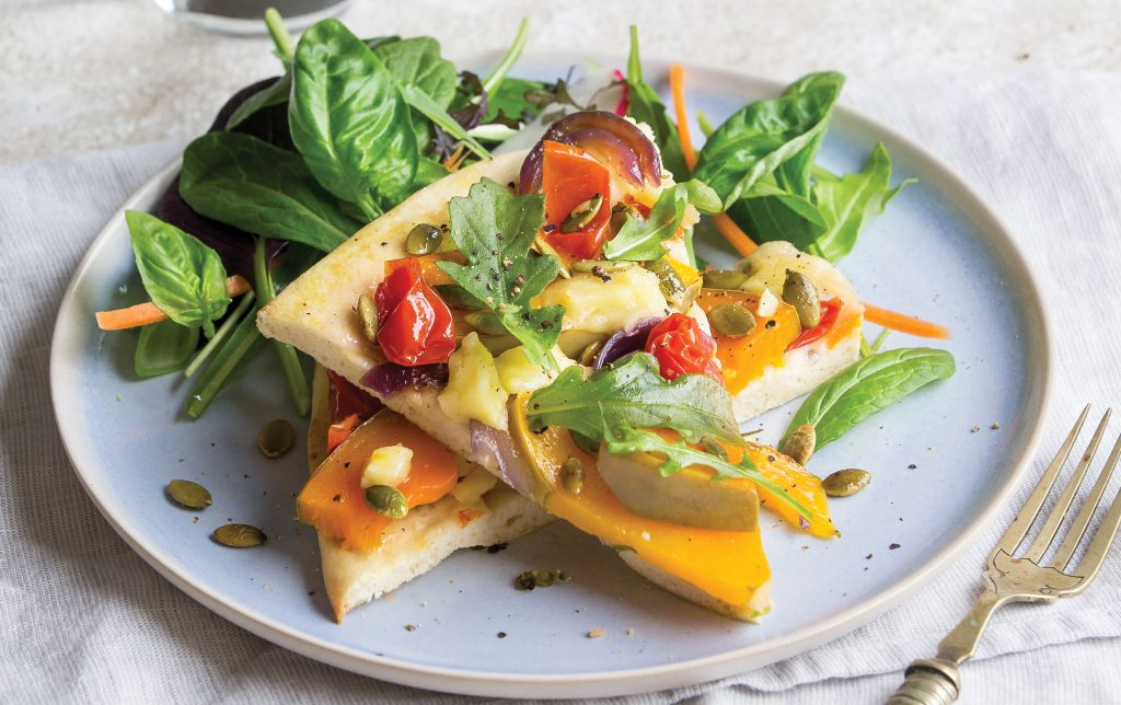 Pumpkin, feta and tomato upside-down pizza