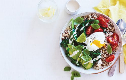 Quick brown rice and quinoa, greens and poached egg bowl