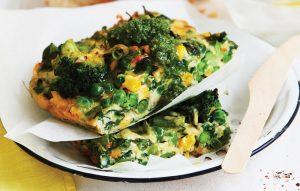 Quick vege frittata with pesto