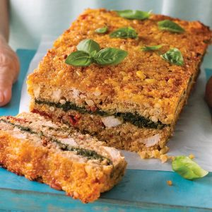Quinoa loaf with spinach and parmesan