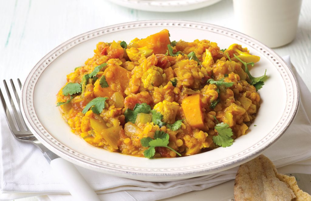 Red lentil dhal with cauliflower and pumpkin