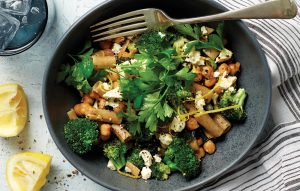 Rigatoni with broccoli and feta