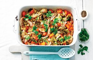 Roast chicken and vege freekeh pilaf