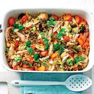 Roast chicken and vege freekeh pilaf