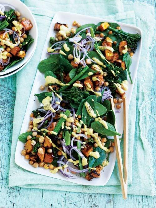 Roast vege salad with satay dressing