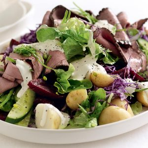 Roasted beef, beetroot and potato salad