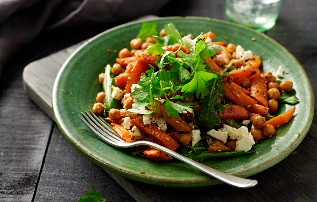Roasted carrot and feta salad with dukkah