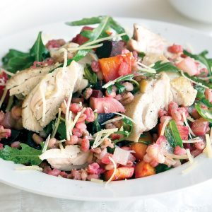 Roasted chicken, beetroot and pumpkin with rocket barley risotto