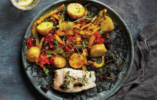 Roasted fish with warm capsicum and olive salad