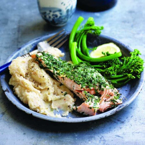 Roasted herb salmon on white bean mash