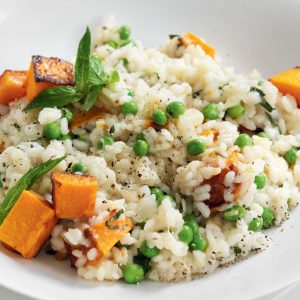 Roasted pumpkin and pea risotto