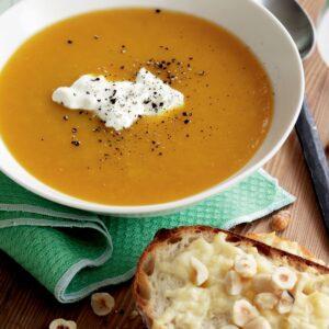 Roasted pumpkin soup with hazelnut and parmesan toasts