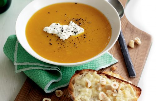 Roasted pumpkin soup with hazelnut and parmesan toasts
