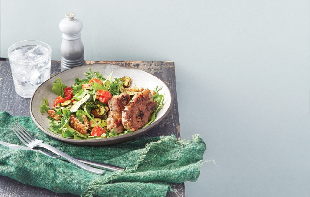 Rosemary garlic lamb with roast tomato panzanella