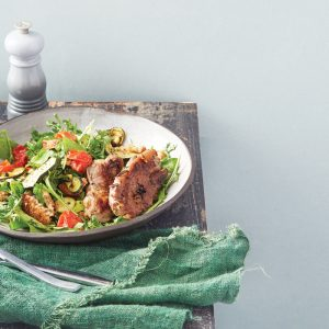 Rosemary garlic lamb with roast tomato panzanella