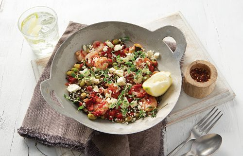 Saganaki prawns with greens