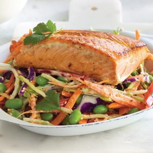 Salmon and Asian sesame slaw with brown rice and quinoa