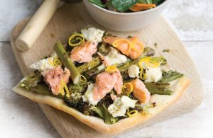 Salmon and asparagus upside-down pizza