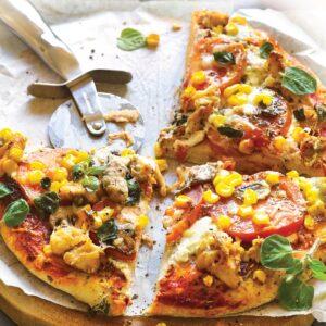 Salmon and mushroom pizza