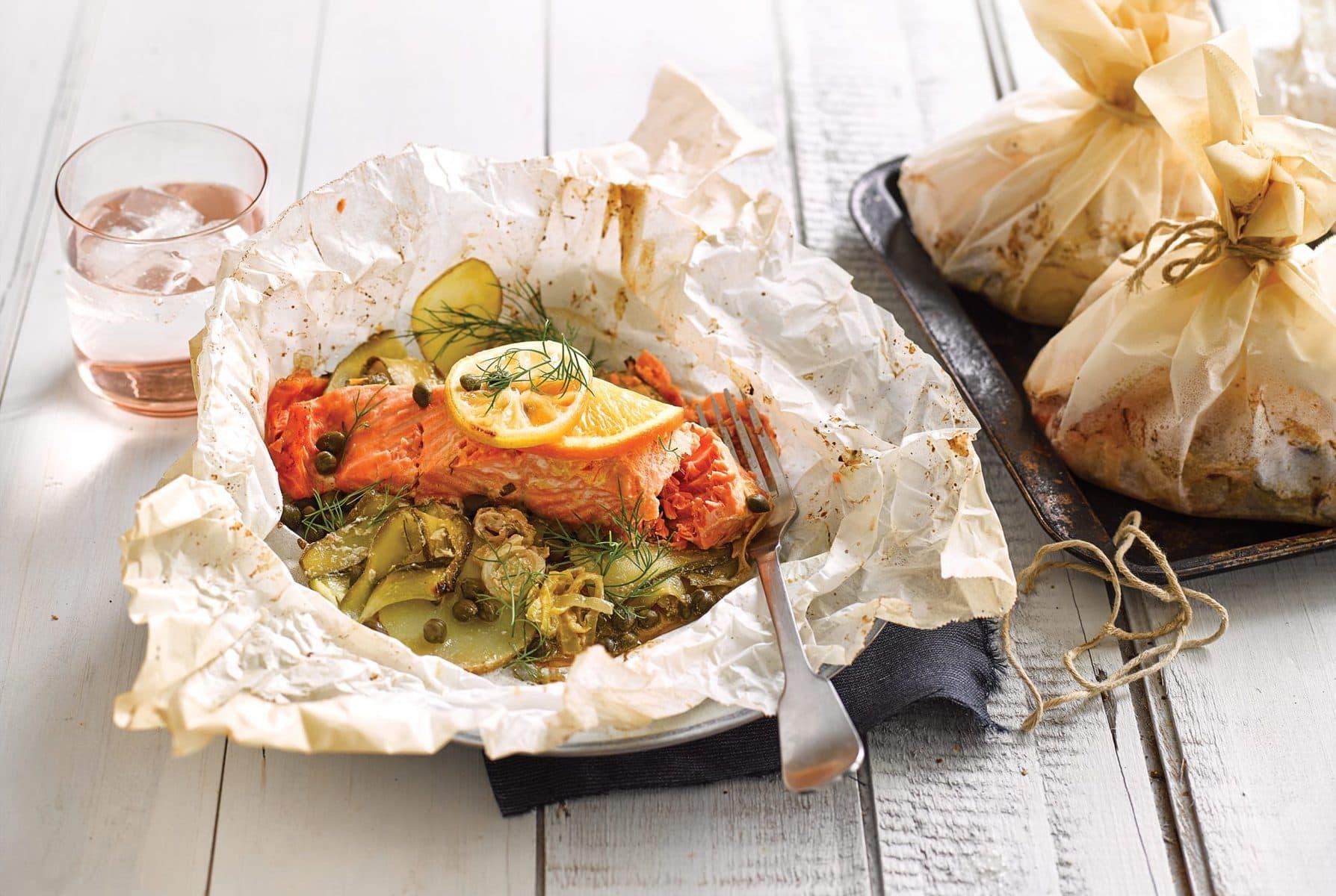 Salmon and potato parcels