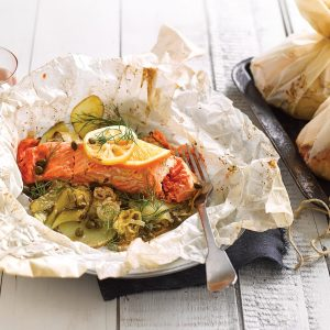 Salmon and potato parcels