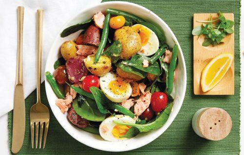 Salmon and roasted new potato Niçoise salad