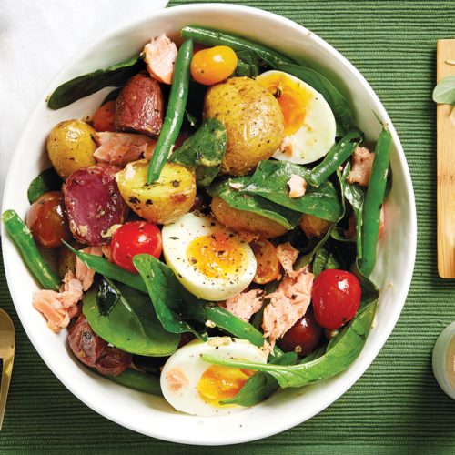 Salmon and roasted new potato Niçoise salad
