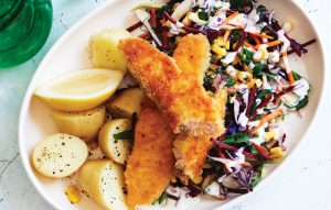 Salmon sticks with slaw