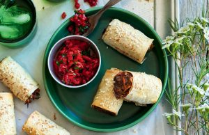 Sausage rolls with roasted capsicum relish