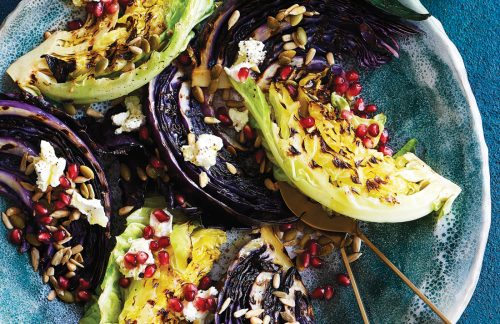 Seared cabbage with feta, nuts and seeds