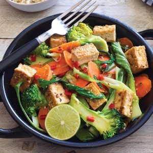 Sesame tofu on Asian veges