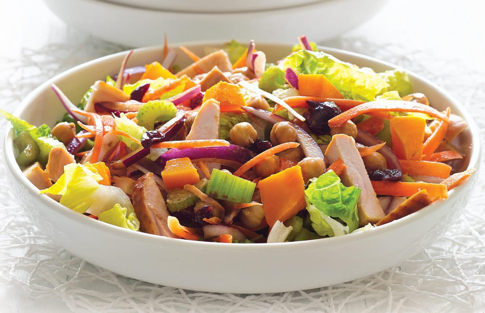 Smoked chicken, pumpkin and cranberry salad