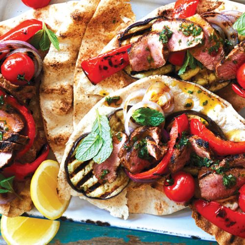 Smoky lamb flatbreads with mint chimichurri