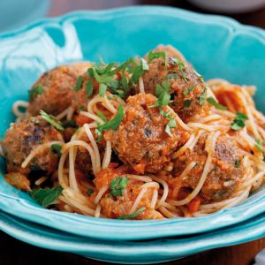 Spaghetti and meatballs with hidden veges