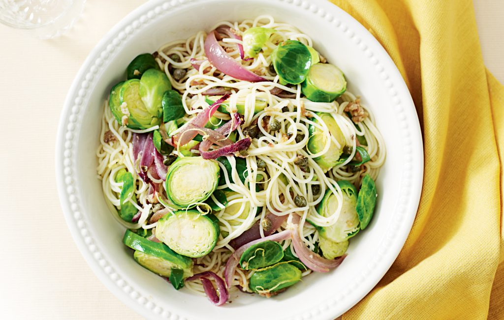 spaghetti with capers anchovies and brussels sprouts