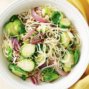 Spaghetti with capers, anchovies and Brussels sprouts