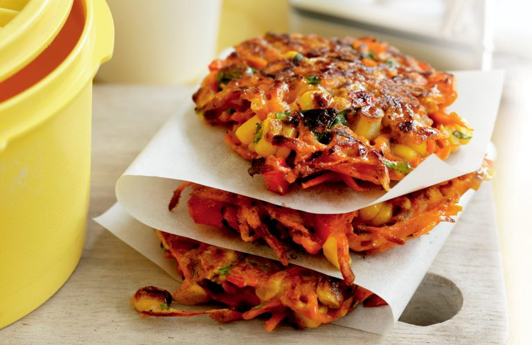 Spiced carrot, capsicum and corn fritters