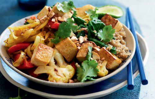 Spiced cauliflower, tofu, Chinese broccoli and cashew stir-fry