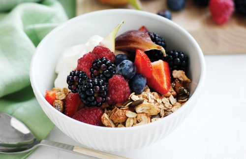 Spiced maple granola with yoghurt